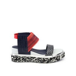 Rico Sandal Black White Mix/Neon Red/Navy