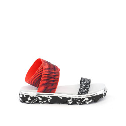 X Sandal Black White Mix/Neon Red